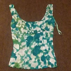 Cute silk DVD green and blue top